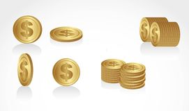 Set of gold coins Stock Images