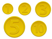 Set of gold coins Stock Photography