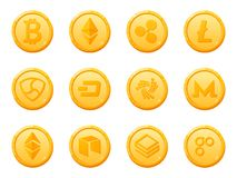 Set of 12 gold coins crypto currency icon. Top digital electronic currency by market capitalization. Vector Stock Photography