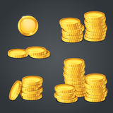 Set of gold coins Stock Photos