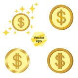 Set of gold coins. Jackpot or success concept. Modern background. Vector elements isolated on a transparent background. stock illustration