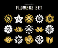 Set of gold color flower icons in flat style. Gold color set of flowers icons in modern flat art illustration style. Floral nature icons lotus, lily and rose vector illustration