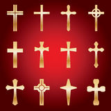 Set of Gold Crosses Stock Photos