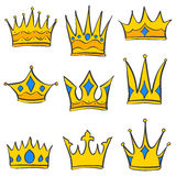 Set of gold crown collection Stock Image