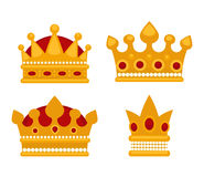 Set of gold crown flat icons. Royalty Free Stock Image