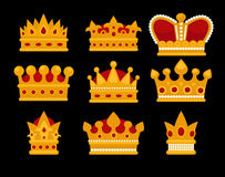 Set of gold crown flat icons. Royalty Free Stock Images