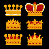 Set of gold crown flat icons. Stock Photo