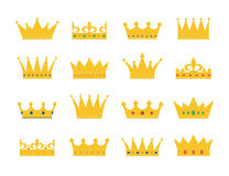 Set of gold crown icons. Collection of crown awards for winners, champions, leadership. Vector isolated elements for logo, label, game, hotel, an app design Royalty Free Stock Images