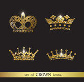 Set of gold crown icons. Set of vector gold crown icons Stock Photos