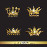 Set of gold crown icons. Set of vector gold crown icons Royalty Free Stock Images
