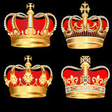 Set gold  crowns on black background Royalty Free Stock Photography