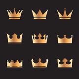 Set of gold  crowns Royalty Free Stock Photography