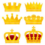 Set of gold crowns on white background Royalty Free Stock Images