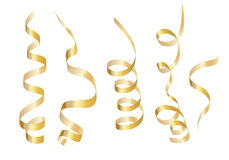 Set gold curly ribbon serpentine. Isolated on white background. Vector illustration Stock Images