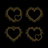 Set of Gold Decorative Frames in Shape of Heart