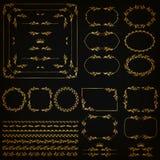 Set of gold decorative hand-drawn floral elements. Set of gold decorative hand-drawn floral element, corner, seamless borders, frames, filigree dividers, crown royalty free illustration