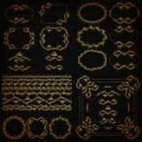 Set of gold decorative hand-drawn floral elements. Set of gold decorative hand-drawn floral element, corner, seamless borders, frames, filigree dividers, crown vector illustration