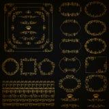 Set of gold decorative hand-drawn floral elements. Set of gold decorative hand-drawn floral element, corner, seamless borders, frames, filigree dividers, crown stock illustration
