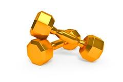 Set of gold dumbells Stock Photo