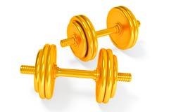 Set of gold dumbells Stock Images