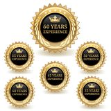 Gold Experience Badges. Set of gold experience badges Stock Images