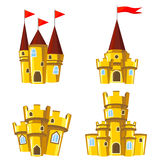 Set of gold fairy castles. Set of four editable gold castles for game design Royalty Free Stock Images