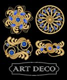 Set of gold filigree brooch with blue gems sapphire in art deco style. Round symmetric retro jewel from gold metal Stock Photography