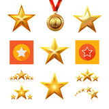 Set of Gold, Flat and Contour line star. Stock Photography