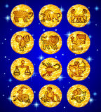 Set gold foil circles with zodiac symbols on blue starry background royalty free illustration