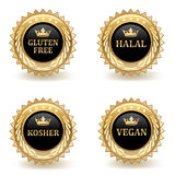 Set Of Gold Food Badges Stock Image