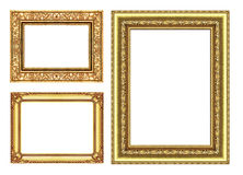 Set 3 gold  frame isolated on white background, clipping path Stock Photos