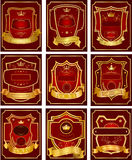 Set of gold-framed labels.  Royalty Free Stock Photos
