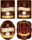 Set of gold-framed labels.  Royalty Free Stock Image