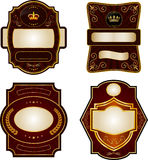 Set of gold-framed labels Stock Image