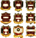 Set of gold-framed labels Stock Photo