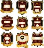 Set of gold-framed labels Stock Photo