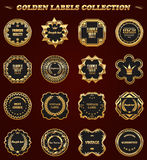 Set of gold framed labels - vintage style. Royalty Free Stock Photos