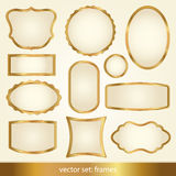 Set of gold frames Royalty Free Stock Photography