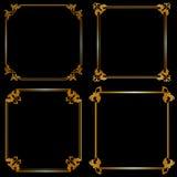 Set of gold frames Stock Images