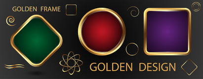 Set gold frames with green, purple and red background and golden. Elements for design. Vector illustration Stock Photos