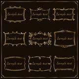 Set of gold frames in vintage style. Vector. Set of gold of vintage frames for your design. Vector royalty free illustration