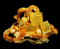 Set gold gift Royalty Free Stock Image