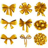 Set of gold gift bows with ribbons Stock Image
