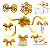 Set of gold gift bows with ribbons Royalty Free Stock Image