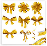 Set of gold gift bows with ribbons Stock Photo