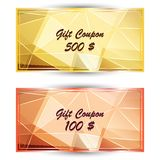 Set gold gift coupon, gift card. Vector set gold gift coupon, gift card with on polygonal background Royalty Free Stock Photos