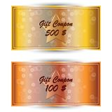 Set gold gift coupon, gift card Royalty Free Stock Photography