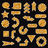 Set of gold glitters signs and arrows. Royalty Free Stock Photo