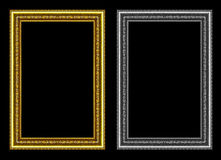 Set of gold and gray frame isolated on black background, with cl Stock Photography