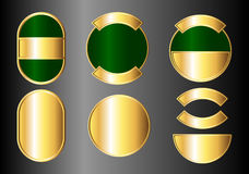 Set of gold and green badges Royalty Free Stock Photo